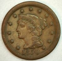 1850 Braided Hair US One Cent Penny Coin 1c Copper Coin VF Very Fine Large Cent