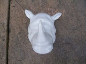 White Ceramic Rhino Wall Mounted Small Plant Holder