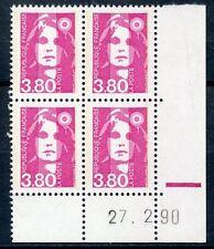 TIMBRE FRANCE NEUF COIN DATE N° 2624 ** EN BLOC DE 4 /////27/02/1990 cote 9,15 €
