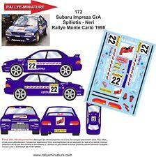 CALCOMANÍAS 1/43 REF 0172 SUBARU IMPREZA WRX SPILIOTIS RALLYE MONTE CARLO 1998