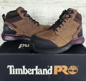 Timberland Pro Womens Reaxion Composite Toe WP Work Boots Sz 6 A219B Purple $135