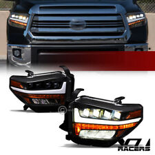 For 2014-2019 Toyota Tundra Black Full LED Sequential Quad Projector Headlights