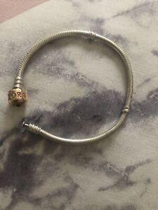 Pandora Silver And Rose Gold Bracelet 18cm