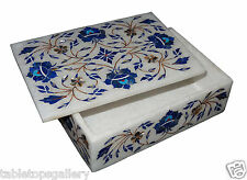 "6""x4""x2"" Marble Jewelry Ring Box Lapis Stone Marquetry Inlay Wedding Gifts H1303"