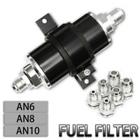 Hi-Flow Aluminum Racing Fuel Filter 100 Micron Cleanable AN6 AN8 AN10 Fitting
