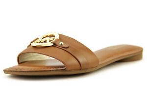 New Michael Kors Molly Slide Sandals vachetta leather flat open toe luggage