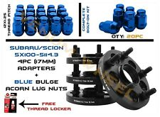 Complete Set of 5x100 Converts To 5x4.5 Wheel Spacer Blue Acorn Lug Nuts 12x1.25