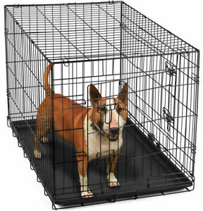 """36"""" Dog Crate 2 Door w/Divide w/Tray Fold Metal Pet Cage Kennel House for Animal"""