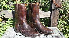 Vintage 1980's LUCCHESE ROPER Cowboy Boots • Ostrich • Brown • Mens 11 D • (G34)