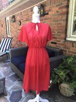Vintage Jerell Of Texas Red Swiss Dot Fit Flare Dress Secretary Semi Sheer Sz 9