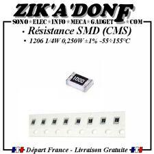 Lot de 10 résistances SMD 1206 (CMS) 1/4W 0,250W 50V ±1% -55÷155°C Thick Film