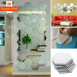 48X 3D Mirror Tiles Mosaic Wall Stickers Self Adhesive Bedroom Art Decal Home UK
