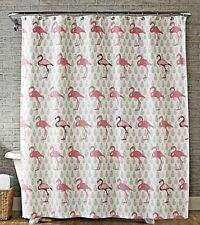Tropical Flock of Flamingos Pineapples Fabric Shower Curtain Bathroom Bird Home