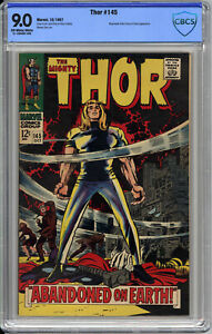 The MIGHTY THOR #145 CBCS VF/NM 9.0 - ABANDONED On EARTH - Kirby Cover - 1967