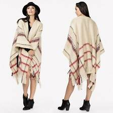 "LOVE STITCH Vanilla Plaid ""Nottingham Poncho"" Fringed Soft Woven Sweater NEW O/S"