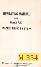 Mazak Micro Turn, Turning Center, Maintenance and Parts Manual 1979