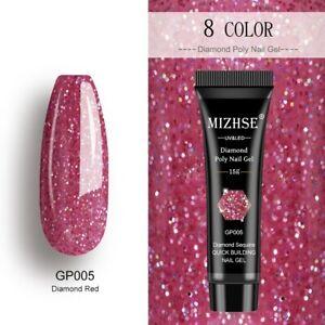 MIZHSE Poly Extensions Gel For Nails UV Diamond Pink Sliver Sequins Gel For