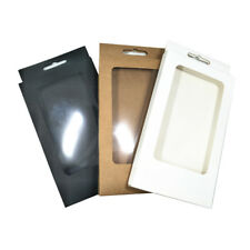 10x17x1.5cm Kraft Paper Phone Case Package Boxes Clear Window Hang Hole Gift Box