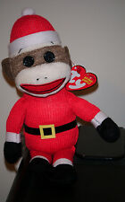 Ty Beanie Baby ~ SOCK MONKEY (Santa) Christmas ~ MINT with MINT TAGS ~ RETIRED