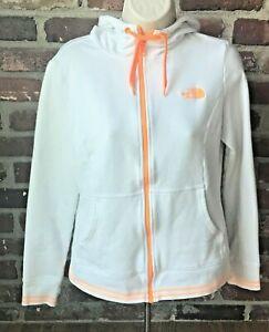 Womens The North Face Hoodie Light Pullover jacket White & Orange Logo Trim Sz M