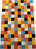 Tapis en Cuir de Vache Patchwork Multicolore 150 X 100 Cm Cowhide