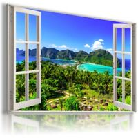 PARADISE VIEW HOLIDAY 3D Window Canvas Wall Art Picture Large W363