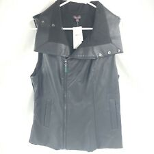 $295 Echo Women/'S Black Zip Motorcycle Coat Vegan Leather Biker Jacket Vest S//M