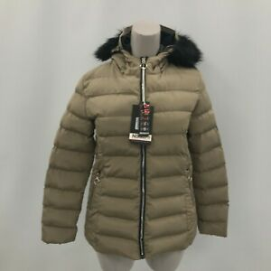 New Geographical Norway Coat Beige Size UK 16 Zipped Faux Fur Trim 302784