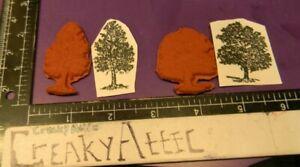 TREES OAK MAPLE SINGLES SMALL SCENE 2 RUBBER STAMPS ONLY CREAKYATTIC