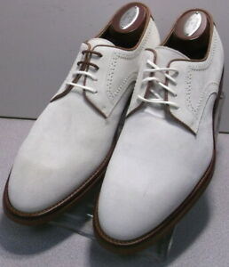 242028 MSi60 Men's Shoes Size 8 M White Suede Made in Italy Johnston Murphy