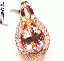 1.96CT 14K Gold Natural Morganite White Diamond Vintage Engagement Necklace Deco
