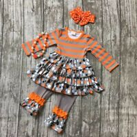 NWT Girl size 2 STUNNING 4 Piece HALLOWEEN Color RUFFLED Polka Dot Outfit 2T NEW