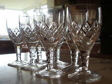 "7 Stuart Crystal sherry glasses ""Cannon"" cut  11cms tall"