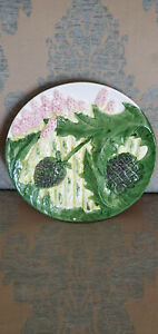 Majolica Asparagus and Artichoke Pottery Plate, Made in Portugal