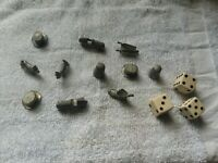 Vintage 1961 MONOPOLY 11 Metal Tokens Replacement Pieces