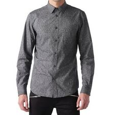 DIESEL Dress Shirt S-Noise Men's Medium M Black Button Front Slim Fit NWT