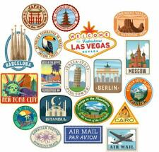 20x Luggage stickers suitcase patches vintage travel labels retro vinyl decals