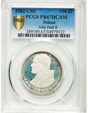 POLAND - 1982 100 Zlotych Silver Proof Cameo Pope John Paul II PCGS PR67 DCAM !