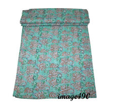 Vintage Indian Flower Block Handmade Kantha Quilt Bedspread- Queen Throw Decor