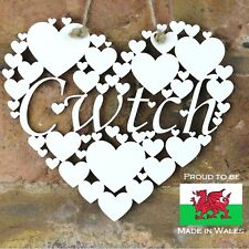 Cwtch White Love wall hanging heart decoration gift Welsh Hug sign Wales art