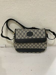 """GUCCI"" Auth Vintage GG Monogram PVC Leather Navy Crossbody Shoulder Bag.!!!"