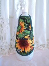 Sunflower & Bird Country Primitive Kitchen Liquid Soap Bottle Apron - fits 25 oz