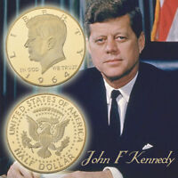 WR Gold Plated US President John F Kennedy 1964 Half Dollar Commemorative Coin