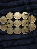 Vintage  COINS Belt Buckle  Indian HEAD Buffalo Nickel ART Nickle RARE