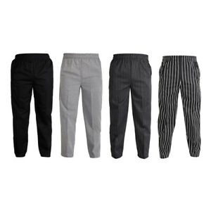 Polyester Elastic Restaurant Cafe Chef Waiter Pants Trousers Uniform Accs