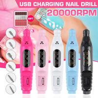 USB Charge Electric Manicure Pedicure Machine Kit Gel Polish Nail Power Drill