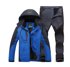 Ski Suit Men Winter Outdoor Windproof Waterproof Thermal Male Snow Pants Sets
