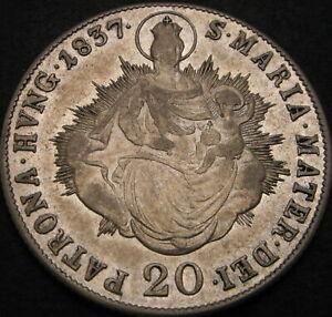 HUNGARY 20 Krajczar/Kreuzer 1837B - Silver - VF - 2555 ¤