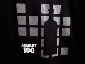 ABSOLUT VODKA lrg T shirt 100 Swedish spirits black tee pop-art logo booze