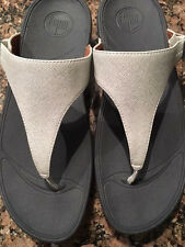 Women's Leather FitFlop Sandal Flip Flops Deluxe Silver White Size 9 - EUC